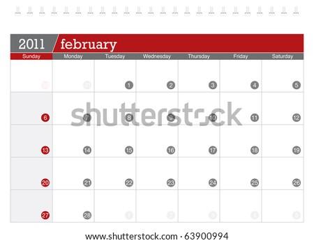 February 2011 Calendar - stock vector