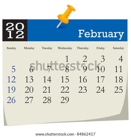 February 2012 Calendar - stock vector