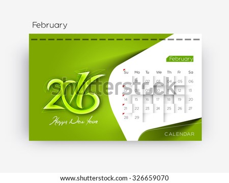 February 2016 calendar design. - stock vector