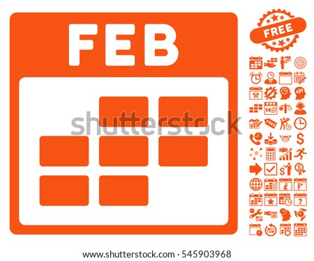 February Calendar Grid pictograph with bonus calendar and time management pictograms. Vector illustration style is flat iconic symbols, orange, white background.