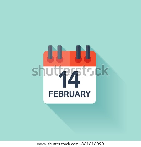 February 14, calendar icon. Valentines day. Love. Date. - stock vector