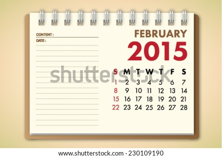 February 2015 Calendar Notebook Paper Vector  - stock vector