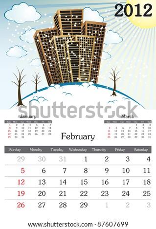 February. 2012 Calendar. Souvenir fonts used. A3 - stock vector