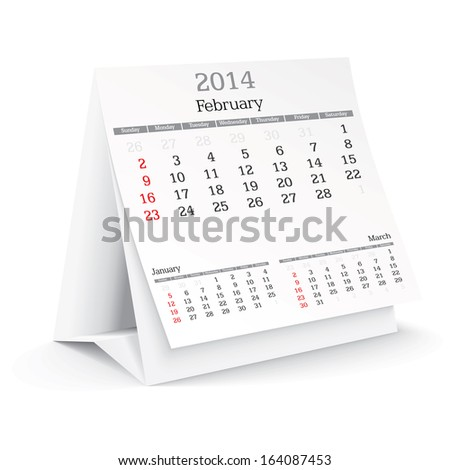 february 2014 - calendar - vector illustration