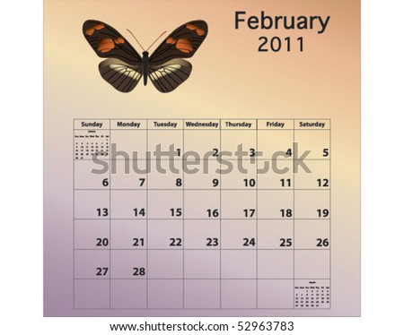 February 2011 calendar with butterfly - stock vector