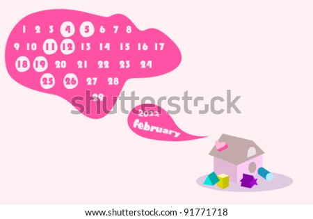 february 2012 colorful calendar illustration with valentine's day theme - stock vector