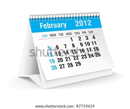 february 2012 desk calendar - stock vector