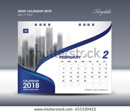 February Desk Calendar 2018 Template flyer design vector