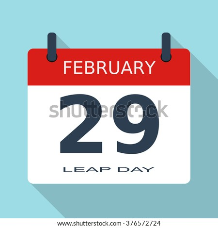 February 29. Flat daily calendar icon. Calendar icon 29. Calendar icon jpg. Calendar icon object. Calendar icon Art. Date and time. Eps10. Vector illustration - stock vector