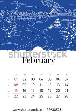 February. Hand drawn calendar. 2015 - stock vector