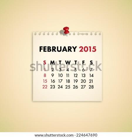 February 2015 Note Paper Calendar Vector - stock vector