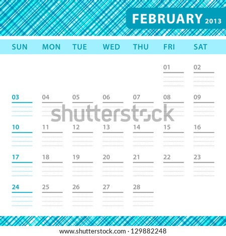 February 2013 planning calendar with space for notes. Checked blue texture in background.