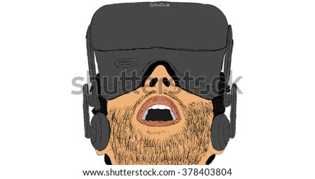 FEBRUARY 17, 2016: Sketch of man using Oculus Rift virtual reality headset. Vector illustration.