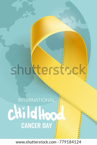 February 15th - International Childhood Cancer Awareness day.  Childhood Cancer Ribbon Background. Vector illustration