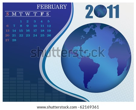 February - the Earth blue calendar for 2011, weeks starts on Sunday. Business Calendar. - stock vector