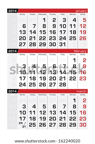 February 2014 Three-Month Calendar - stock vector