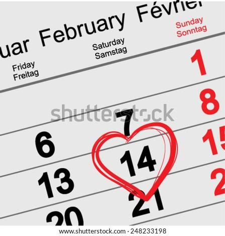 February 14 Valentines Day. Calendar illustration in vector format - stock vector