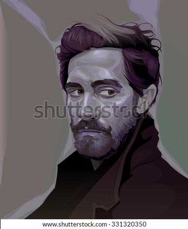 February, 2015. Vector illustration of Jake Gyllenhaal. - stock vector