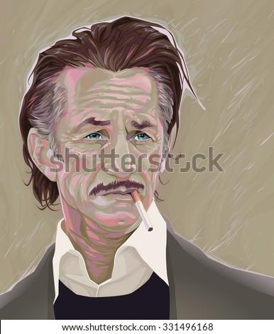 February, 2015. Vector illustration of Sean Penn - stock vector