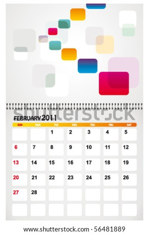 february 2011 with background - stock vector