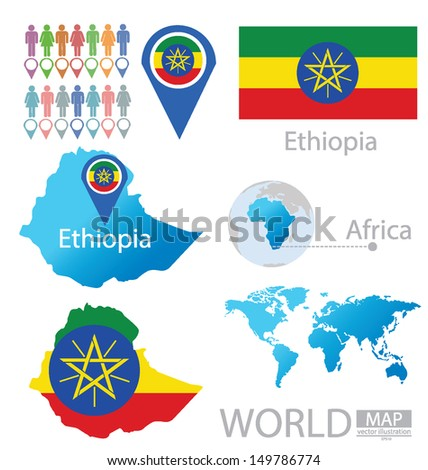 Federal Democratic Republic of Ethiopia. flag. World Map. vector Illustration. - stock vector