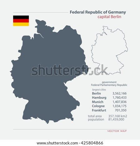 Federal Republic Germany Isolated Maps Official Stock Vector - Germany map template