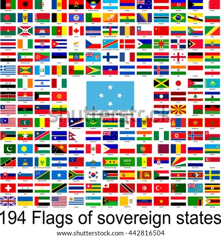 Federated States Of Micronesia, collection of vector images of flags of the world