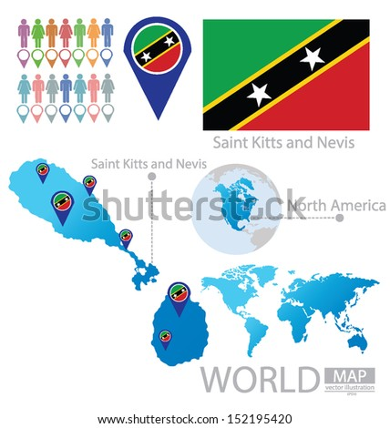 Federation Saint Kitts Nevis Flag North Stock Vector HD Royalty