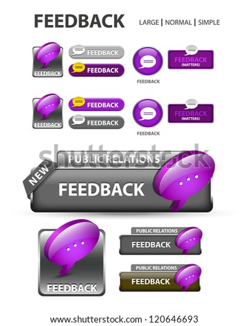 Feedback button, collection of feedback icons and buttons