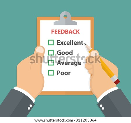 Feedback concept. Hand holding a clipboard with customer survey on it and a pencil. Flat style - stock vector