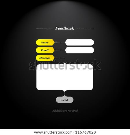 Feedback form with trendy fields and buttons shapes and simply classical type. - stock vector