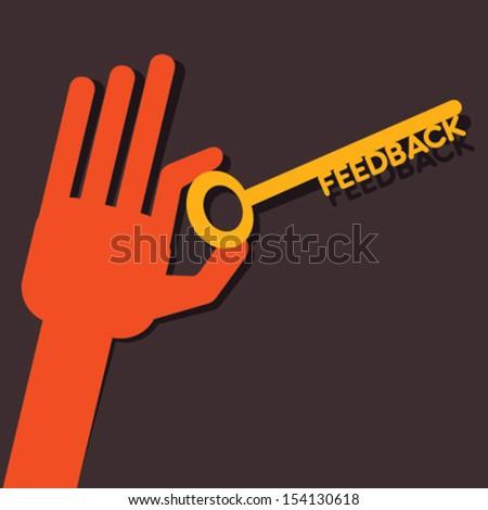 Feedback key in hand stock vector - stock vector