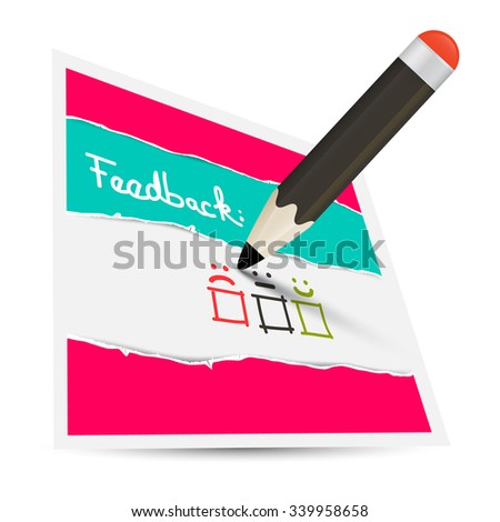 Feedback Paper Card with Pencil and Options - stock vector