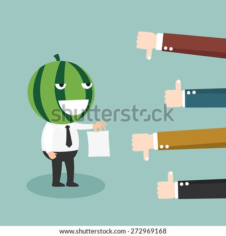 Feedback-People give the man thumbs-up and thumbs-down - stock vector
