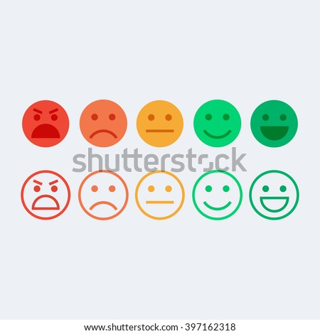 Feedback vector concept. Rank, level of satisfaction rating. Feedback in form of emotions, smileys, emoji. User experience. Customer feedback. Review of consumer. Feedback flat icon.  - stock vector