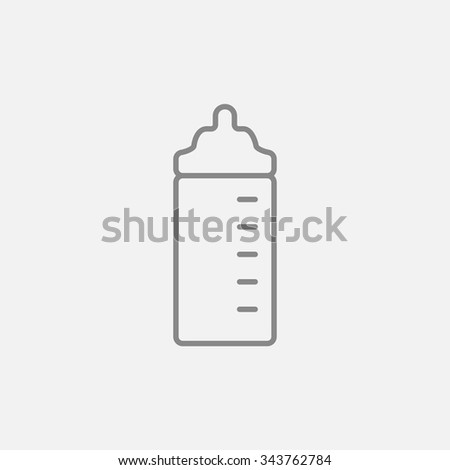 Feeding bottle line icon for web, mobile and infographics. Vector dark grey icon isolated on light grey background. - stock vector