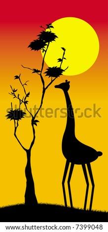 Feeding giraffe - stock vector