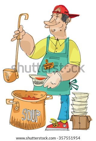 Feeding the homeless - soup kitchen - cartoon - stock vector
