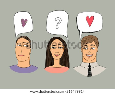 Feelings of three people. Hand-drawn vector illustration about love. - stock vector