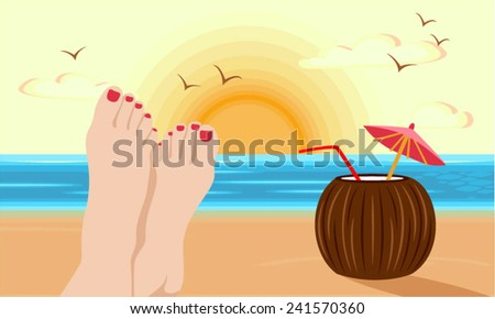 Feet of woman directed the sun and enjoying the beach with a coconut drink - stock vector