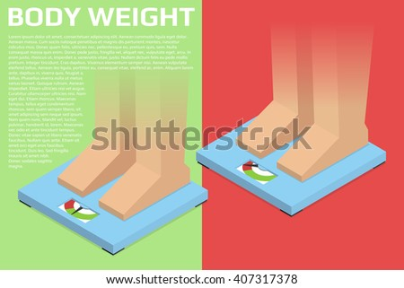 Feet on scale. Normal and Excess weight. Template and isolated illustrations with opacity masks.  Isometric vector illustration - stock vector