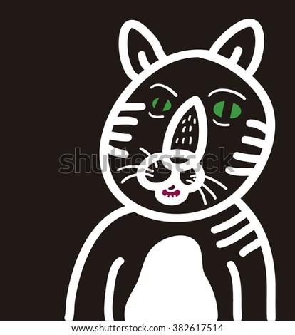 Feline cartoon - stock vector
