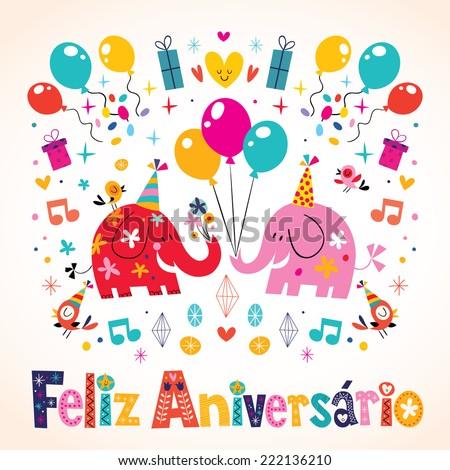 Feliz Aniversario Portuguese Happy Birthday cute elephants card - stock vector
