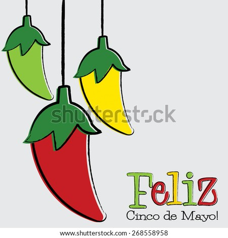 Feliz Cinco de Mayo chili pepper string card in vector format. - stock vector