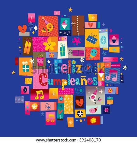Feliz cumpleanos happy birthday spanish greeting stock vector feliz cumpleanos happy birthday in spanish greeting card bookmarktalkfo Images
