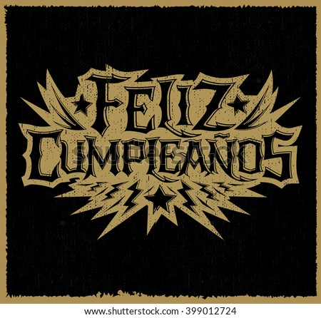 Feliz Cumpleanos Happy Birthday Spanish Text Stock Vector