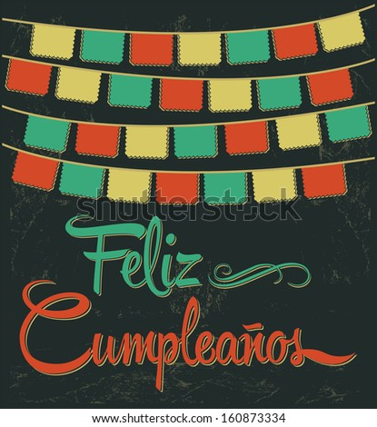 Feliz Cumpleanos - happy birthday spanish text - vector lettering - stock vector