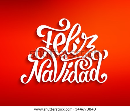 Feliz Navidad hand lettering decoration text on red blurry vector background for greeting card design template. Merry Christmas typography label in spanish. Calligraphic inscription for winter holiday - stock vector