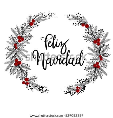feliz navidad hand lettering greeting card stock vector 529082389 shutterstock. Black Bedroom Furniture Sets. Home Design Ideas