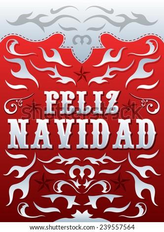 Feliz Navidad - Merry Christmas spanish text - vector card - poster template - western style - stock vector